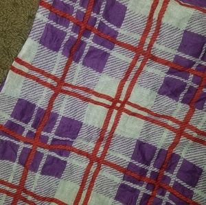 Square pattern purple red white scarf